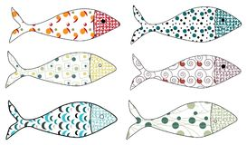 Set of vector stylized fishes. Collection of aquarium fish. Illustration for children. Set of vector stylized fishes. Collection of aquarium fish Royalty Free Stock Photos