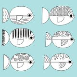 Set of vector stylized fishes. Collection of aquarium fish. Linear Art. Illustration for children. Set of vector stylized fishes. Collection of aquarium fish Stock Images