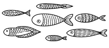 Set of vector stylized fishes. Collection of aquarium fish. Royalty Free Stock Photos