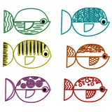 Set of vector stylized fishes. Collection of aquarium fish.. Linear Art Stock Photo