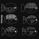 Set of vector stylized fishes. Collection of aquarium fish.. Linear Art Stock Photos