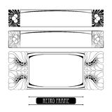 Set with vector stylized frames in Art Nouveau or Modern style in black isolated on white background. vector illustration