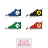 Set of Vector Stylized sneakers. Outline urban shoes. Sport icon Royalty Free Stock Photos