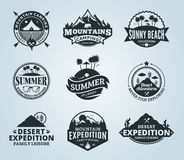 Set of vector summer, mountain and outdoor adventures logo. Tourism, hiking and camping labels. Mountains and travel icons for tourism organizations, outdoor Royalty Free Stock Photo