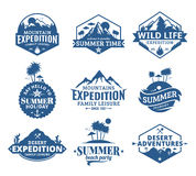 Set of vector summer, mountain and outdoor adventures logo Royalty Free Stock Photos
