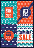 Set of vector summer sale design. Seamless abstract patterns and Stock Photos