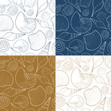 Set of vector summer seamless patterns with sea shells. Royalty Free Stock Images