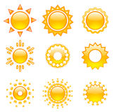 Set of vector suns Royalty Free Stock Photos