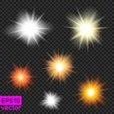 Set of vector suns on transparent Royalty Free Stock Images