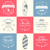 Set of Vector Surf Logo and Badges. Set of  logos and badges surfing, camping, hiking and outdoor activities. The collection of symbols and emblems surf clubs Stock Photos