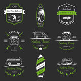 Set of Vector Surf Logo and Badges. Set of  logos and badges surfing, camping, hiking and outdoor activities. The collection of symbols and emblems surf clubs Stock Photo