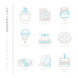 Set of vector sweet food icons and concepts in mono thin line style Stock Photo