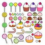 Set of vector sweets candies. Stock Images