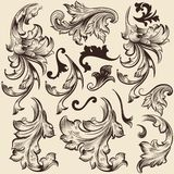 Set of vector swirls in vintage style for design Royalty Free Stock Photos