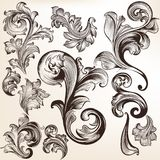 Set of vector swirls in vintage style  for design Stock Images