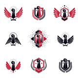 Set of vector symbols created with clenched fist of athletic man Royalty Free Stock Photography