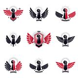 Set of vector symbols created with clenched fist of athletic man Stock Images