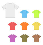 Set of vector t-shirts in basic colors. Set of blank vector t-shirts in basic colors - white, blue, green, red, orange, yellow, purple, gray and brown. Vector Royalty Free Stock Photo
