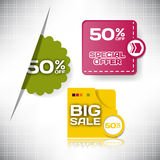 Set vector tag Big Sale paper banner special offer.  Stock Photos