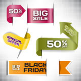 Set vector tag Big Sale paper banner special offer origami Stock Images