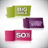 Set vector tag Big Sale paper banner special offer origami Royalty Free Stock Images