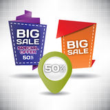 Set vector tag Big Sale paper banner special offer origami Stock Photo