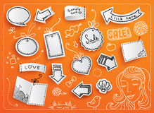 Set of vector tags. And doodles Royalty Free Stock Photos