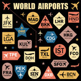 Set of Vector Tags with World Airport Codes. Mix of Airplane Icons, Stars and Colorful Labels. Vector Illustration for Travelers: Famous Airport Abbreviations Stock Photo