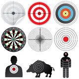 Set of Vector Targets and Dummies. Vector Targets Set. Illustration of Paper Target, Archery Target, Dartsboard, Range Target, Human and Wild Boar Dummy Royalty Free Stock Photo