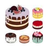 Set of Vector Tasty Cakes Isolated on White Background. Illustrations for Confectionery, Cafe and Greeting Cards. vector illustration