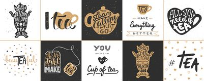 Set of vector tea lettering posters, greeting cards, decoration royalty free illustration