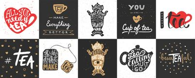 Set of vector tea lettering posters, greeting cards, decoration Royalty Free Stock Photography