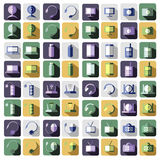 Set of vector technology flat icons of PC, monitor, headphones, router, battery, USB flash drive, web camera.  stock illustration