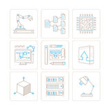 Set of vector technology icons and concepts in mono thin line style Stock Photos
