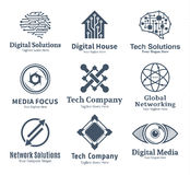 Set of vector technology, network and computer science logo Royalty Free Stock Photos
