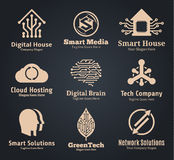 Set of vector technology, network and computer science logo Stock Images