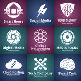 Set of vector technology, network and computer science logo Royalty Free Stock Photography