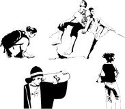 Set of vector teens black and white Royalty Free Stock Photo
