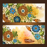 Set of vector template banners with watercolor paint abstract background and doodle hand drawn flowers. Stock Photography