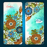 Set of vector template banners with watercolor paint abstract background and doodle hand drawn flowers. Royalty Free Stock Image
