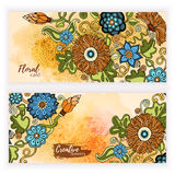 Set of vector template banners with watercolor paint abstract background and doodle hand drawn flowers. Stock Image