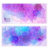 Set of vector template banners with watercolor paint abstract background and doodle hand drawn mandalas. Series of image Template frame design for card Royalty Free Stock Image
