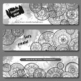 Set of vector template banners with watercolor paint abstract background and doodle hand drawn mandalas. Series of image Template frame design for card royalty free illustration