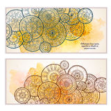 Set of vector template banners with watercolor paint abstract background and doodle hand drawn mandalas. Series of image Template frame design for card Royalty Free Stock Photos
