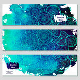 Set of vector template banners with watercolor paint abstract background and doodle hand drawn mandalas. Series of image Template frame design for card vector illustration