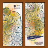 Set of vector template banners with watercolor paint abstract background and doodle hand drawn mandalas. Series of image Template frame design for card Royalty Free Stock Images