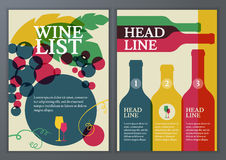 Set of vector template for brochure, flyer, poster, wine list, m Royalty Free Stock Photos