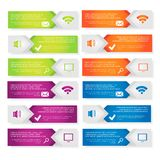 Set vector template Infographic. A set of modern vector template Infographic of the three elements of rectangles with icons and space for text in different Stock Images