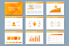 Set of vector template for presentation slides. Modern design with graph and charts Royalty Free Stock Images