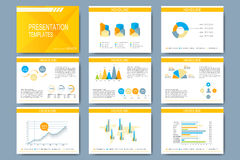 Set of vector template for presentation slides. Modern design with graph and charts Stock Images